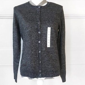 Heather Gray Fitted Stretch Button Up Sweater NWOT